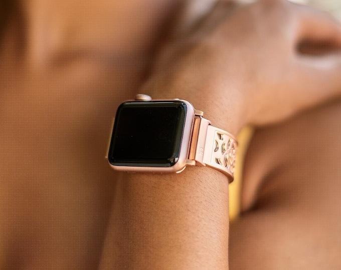 Rose Gold Apple Watch Band 38mm 40mm 42mm 44mm Women Bracelet iWatch Band Rose Gold Apple Watch Bangle iWatch Band Adjustable Link Bracelet