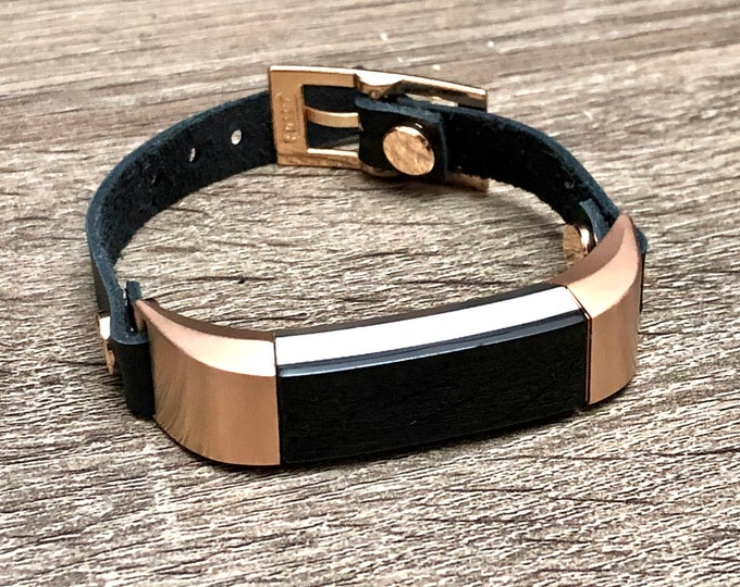Black Leather & Rose Gold Fitbit Alta HR Band for Women Fitbit Alta HR Bracelet Fitbit Alta Jewelry Adjustable Strap Fitbit Alta Band