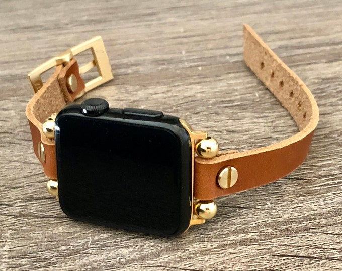 Gold Apple Watch Leather Band Women iWatch Bracelet Slim Apple Watch Strap iWatch Wristband 38mm 40mm 42mm 44mm Watch Band