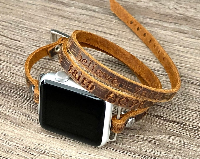Apple Watch Band 38mm 40mm 42mm 44mm Rustic Brown Leather Bracelet Inspirational Quotes Apple Watch Women Apple Watch Wristband iWatch Band