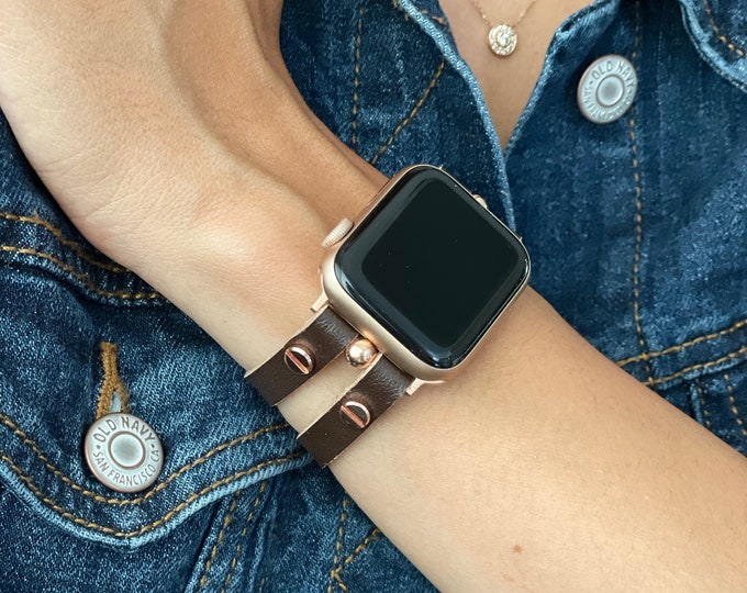 Chocolate Brown Leather Apple Watch Band 38mm 40mm 42mm 44mm Rose Gold Apple Watch Strap Women iWatch Bracelet Jewelry Apple Watch Wristband