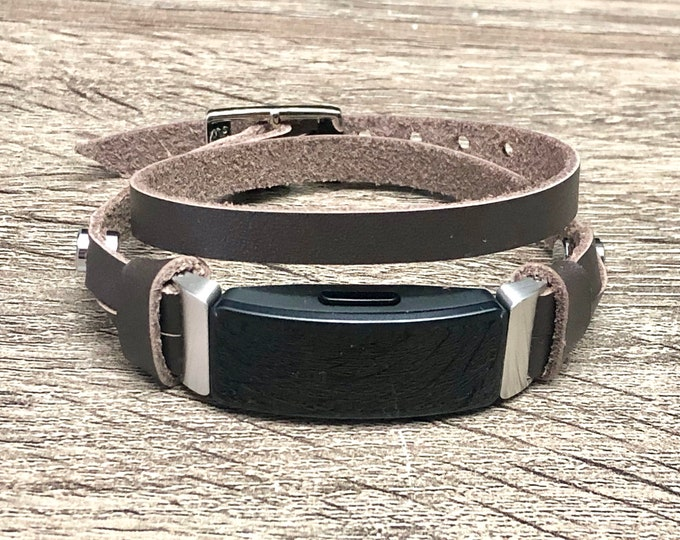 Fitbit Inspire Band Double Wrap Dark Brown Bracelet Slim Genuine Leather Fitbit Strap Elegant Fitbit Inspire HR Band, Fitbit Inspire Jewelry