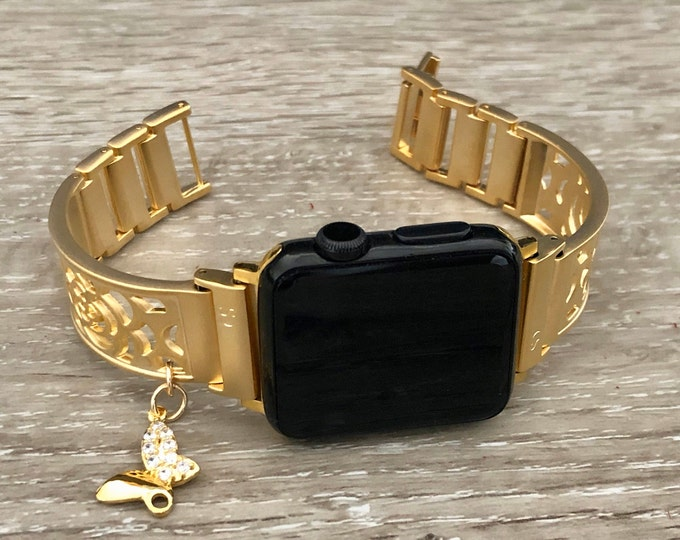Gold Apple Watch Band 38mm 40mm 42mm 44mm Women Apple Watch Bangle Crystal Butterfly Charm Jewelry Gold iWatch Band Adjustable Size Bracelet