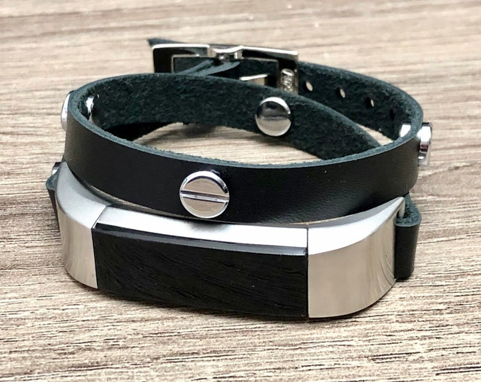 Fitbit ALTA HR Band Black Genuine Leather Double Tour Fitbit Alta Strap Bracelet Silver Fitbit Wristband Adjustable Women Fitbit Jewelry