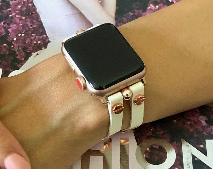 Vegan White Leather Apple Watch Band 38mm 40mm 42mm 44mm Women Apple Watch Bracelet Slim Rose Gold Apple Watch Wristband iWatch Jewelry