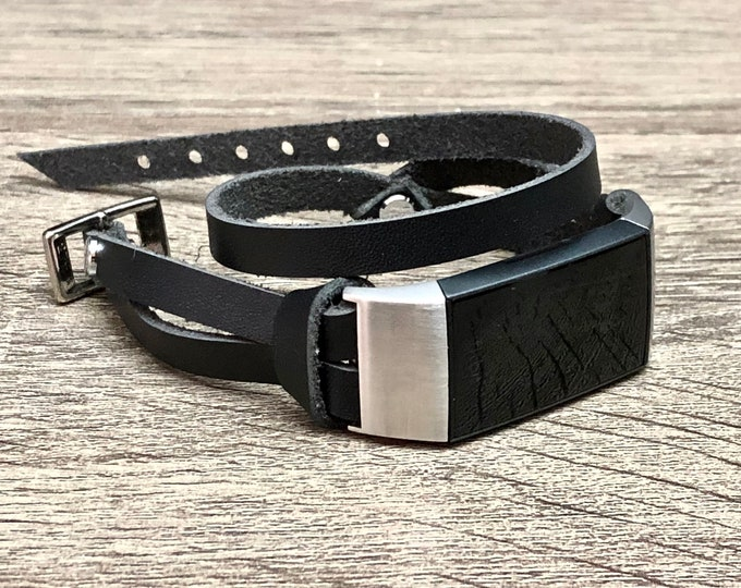 Black Leather & Silver Fitbit Charge 3 Band Double Wrapped Fitbit Charge 3 Strap Bracelet Stainless Steel Fitbit Charge 3 Leather Band