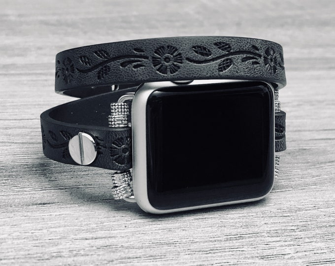 Black Leather Apple Watch Band 38mm 42mm Double Wrap Vegan Apple Watch Band Women Jewelry iWatch Leather Wristband Adjustable iWatch Band