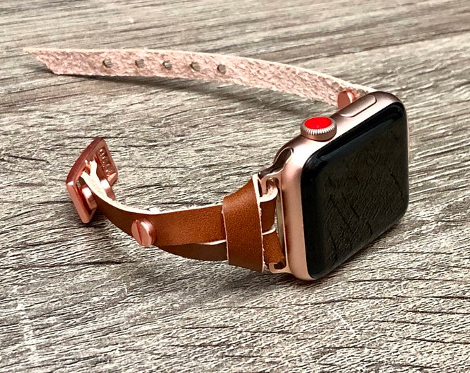 Bronze Leather Apple Watch Strap Bracelet Pink Rose Gold iWatch Band Apple Watch Band 38mm 40mm Women iWatch Strap Apple Watch 42mm 44mm