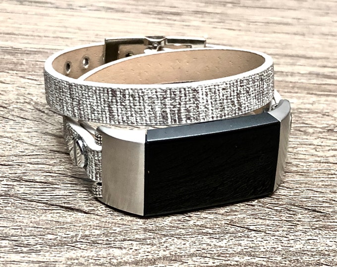 Grey Fitbit Charge 3 Band Double Wrapped Fitbit Charge 3 Strap Vegan Bracelet Stainless Steel Fitbit Charge 3 Leather Eco Friendly Band