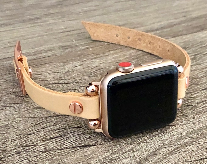 Rose Gold & Tan Leather Apple Watch Band Women iWatch Bracelet Slim Apple Watch Strap Dainty iWatch Wristband 38mm 40mm 42mm 44mm Watch Band