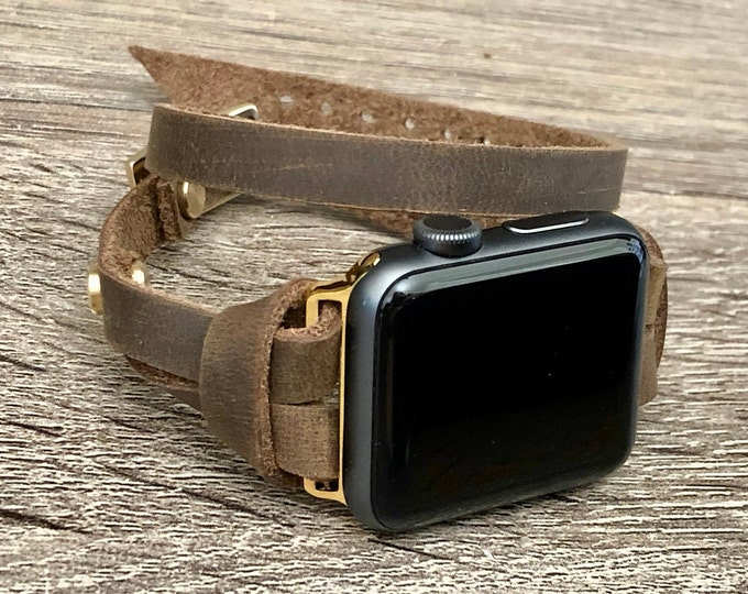 Apple Watch Band 38mm 40mm 42mm 44mm Bracelet Gold & Rustic Brown Leather iWatch Strap Women Apple Watch Slim Vintage Leather Wristband