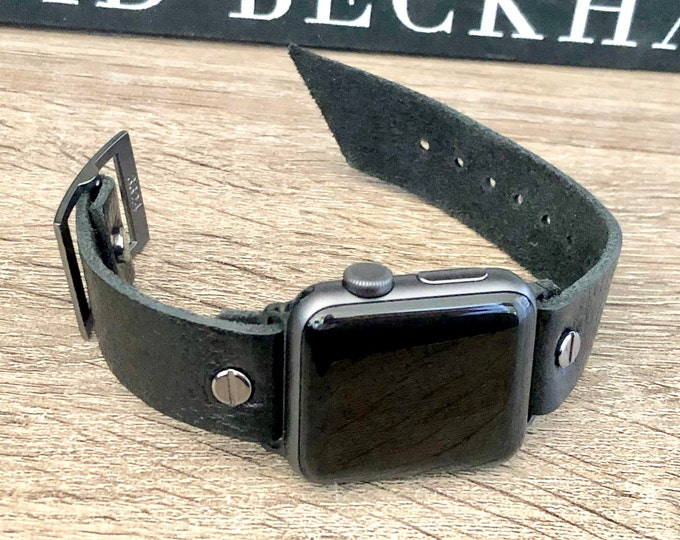 Black Apple Watch Band Adjustable Strap Wristband 38mm 40mm 42mm 44mm iWatch Bracelet Grain Leather Watch Strap Classic Father's Day Gift