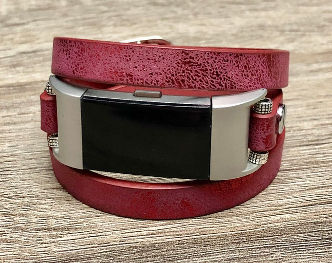Multi Wrap Maroon Wristband for Fitbit Charge 2 Tracker Handmade Fitbit Charge 2 Band Adjustable Vegan Leather Fitbit Charge 2 Bracelet