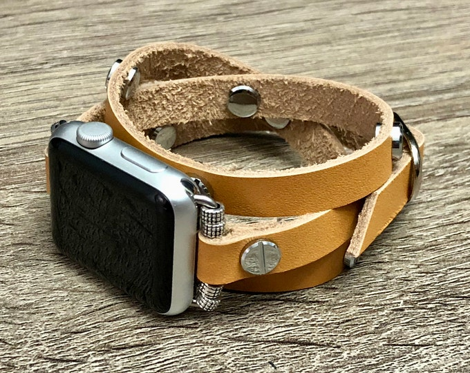 Tan Color Genuine Leather Bracelet for Apple Watch Handcrafted Multi Wrap Leather Wristband Apple Watch Band Luxury Fashion Jewelry Bracelet