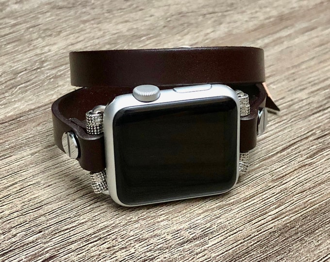 Elegant Dark Brown Apple Watch Bracelet Leather Handmade Apple Watch Band Adjustable Apple Watch Jewelry Wristband Unisex Style iWatch Band