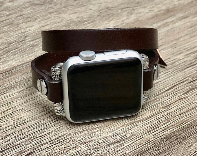 Elegant Dark Brown Apple Watch Bracelet Leather Handmade Apple Watch Band Adjustable Apple Watch Jewelry Wristband Unisex Style iWatch Band