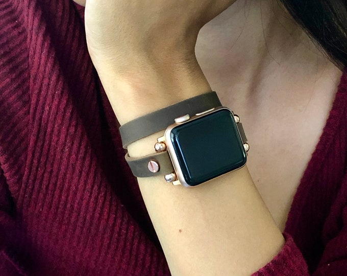 Leather Apple Watch Band 38mm 40mm 42mm 44mm Women iWatch Bracelet Rose Gold Apple Watch Wristband Vintage Brown Leather iWatch Strap Band