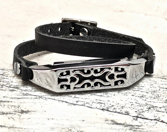 Leather Fitbit Flex 2 Band Black Fitbit Flex 2 Women Strap Bracelet Fitbit Flex 2 Wristband Elegant Silver & Leather Fitbit Women Wrap Band