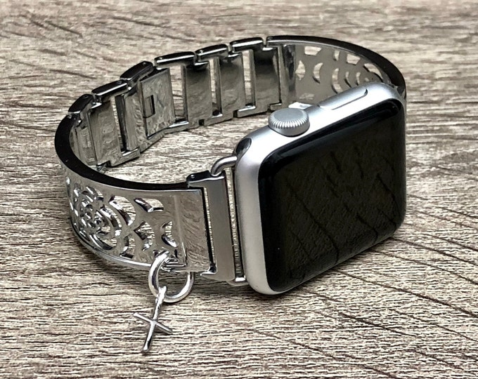 Apple Watch Band 38mm 40mm 42mm 44mm Shiny Silver Adjustable Apple Watch Bangle Women iWatch Bracelet Band Slim Cross Apple Watch Jewelry