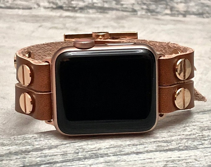 Apple Watch Band 38mm Women iWatch Band Bronze Leather Apple Watch Strap Women 40mm iWatch Band Women Apple Watch Rose Gold Wristband