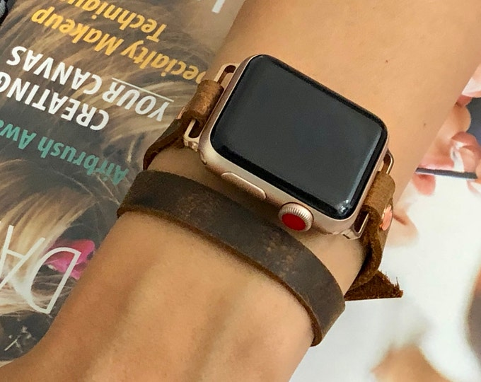 Rose Gold Apple Watch Band 38mm 40mm 42mm 44mm Brown Leather Strap Apple Watch Bracelet, Rustic Vintage Apple Watch Leather Wristband,