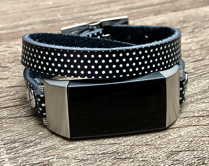 Fitbit CHARGE 3 Band, Polka Leather Fitbit Charge 3 Strap Bracelet, Women Style Fitbit Charge 3 Band, Double Wrapped Fitbit Strap Wristband,