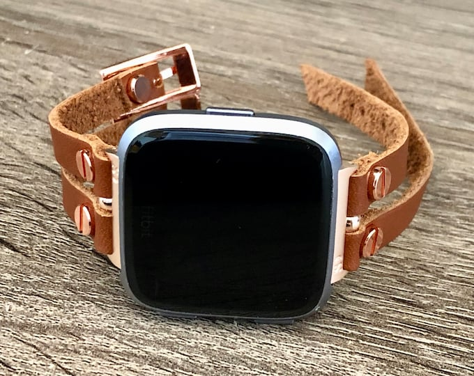 Fitbit Versa 2 Band Rose Gold Fitbit Versa Watch Strap Women Style Fitbit Versa Bracelet Fitbit Versa Lite Wristband Bronze Leather Jewelry
