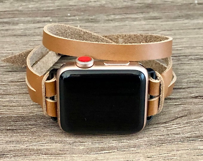 Apple Watch Band 38mm 40mm 42mm 44mm Space Gray Women Apple Watch Bracelet iWatch Band Double Tour Light Brown Leather Apple Watch Wristband