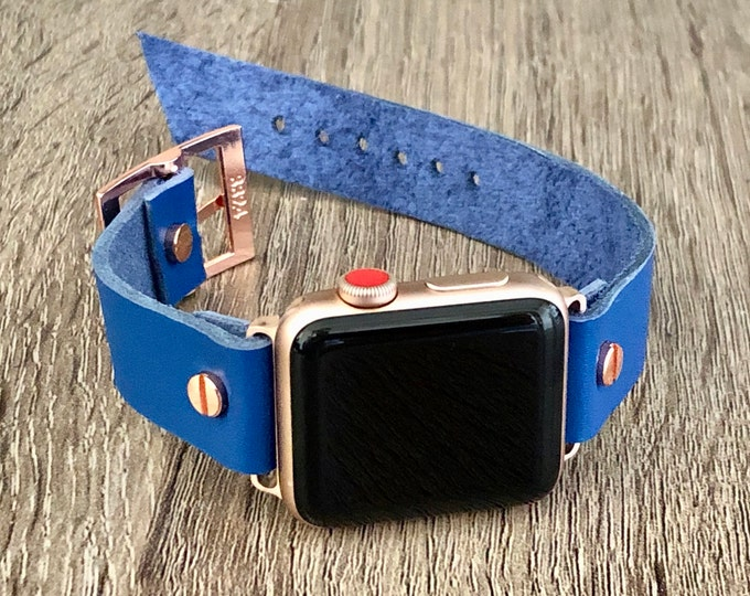 Rose Gold Apple Watch Band 38mm 40mm 42mm 44mm Blue Leather iWatch Bracelet Adjustable Size Cuff Wristband Rose Gold Watch Band 18mm Strap
