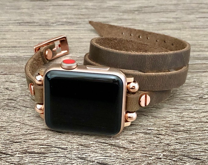 Apple Watch Strap Band Vintage Brown Genuine Leather & Rose Gold Apple Watch Band 38mm 40mm 42mm 44mm Classy Multi Wrap Wristband