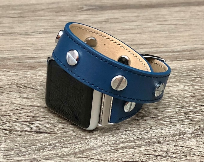 Elegant Navy Blue Leather Bracelet for Apple Watch Series Handmade Apple Watch Band Adjustable Double Wrap Vegan Leather Wristband Strap