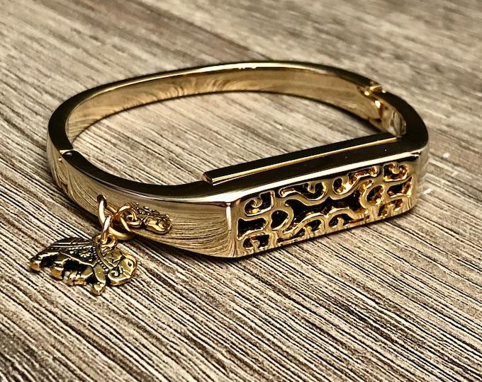 Handmade Gold Color Fitbit Flex 2 Band Gold Metal Fitbit Flex 2 Bangle Lucky Elephant Charm Fitbit Flex 2 Bracelet Elegant Women Fitbit Band
