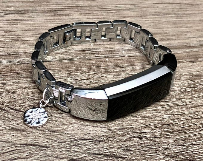 Silver Fitbit Alta Hr Band Metal Bracelet Handmade Fitbit Jewelry CZ North Star Pendant Adjustable Fitbit Band Links Bracelet