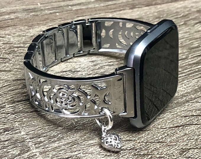 Fitbit VERSA 2 Watch Band Women Shiny Silver Fitbit Versa Lite Bangle Silver Heart Dressy Fitbit Versa Bracelet Fitbit Versa Watch Jewelry