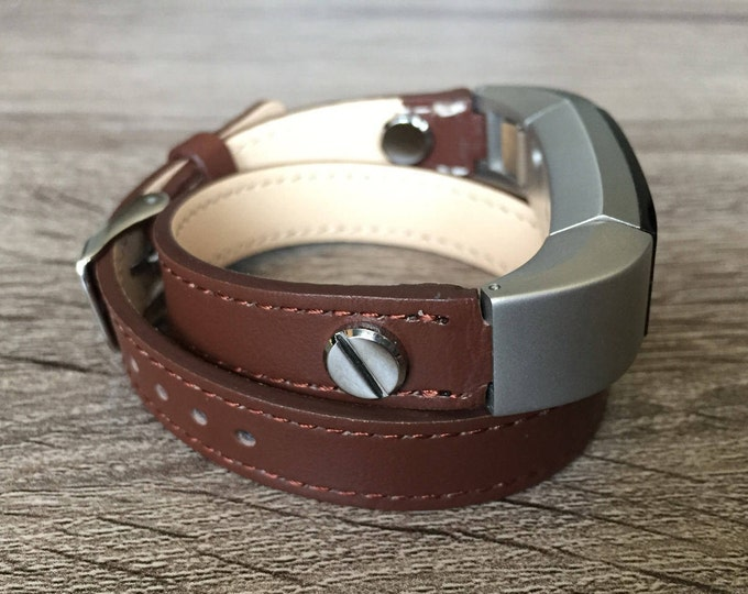 Brown Band For Fitbit Alta Leather Bracelet Pendant Fitbit Alta HR Replacement Band Fitbit Alta HR Accessories Silver Rivets Present Gift