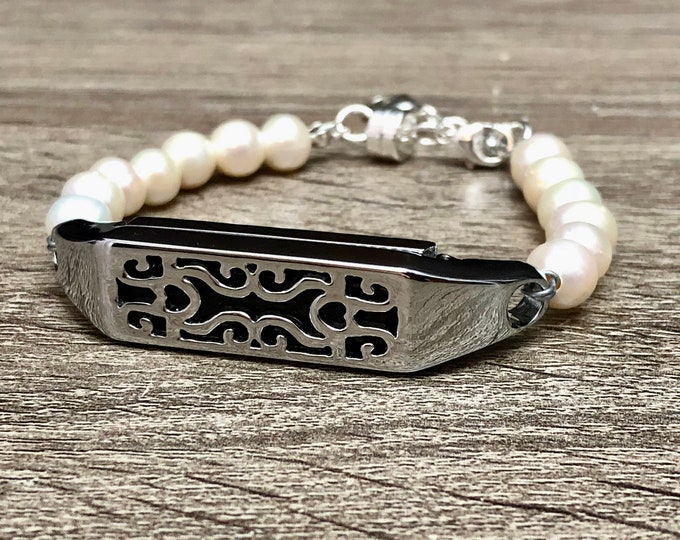 Fresh Water Pearls Bracelet for Fitbit Flex 2 Tracker Handmade Silver Fitbit Flex 2 Band White Pearls Fitbit Flex 2 Jewelry Bracelet
