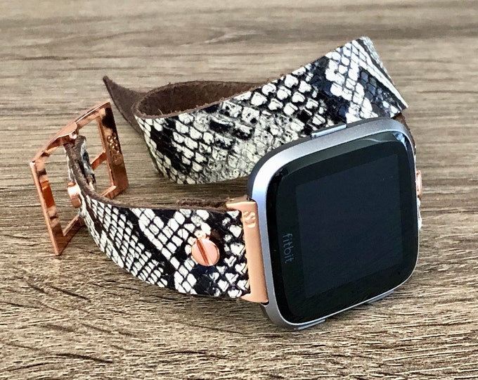 Snake Skin & Rose Gold Fitbit Versa 2 Leather Band Fitbit Versa Lite Watch Strap Adjustable Fitbit Versa Band Soft Leather Wristband