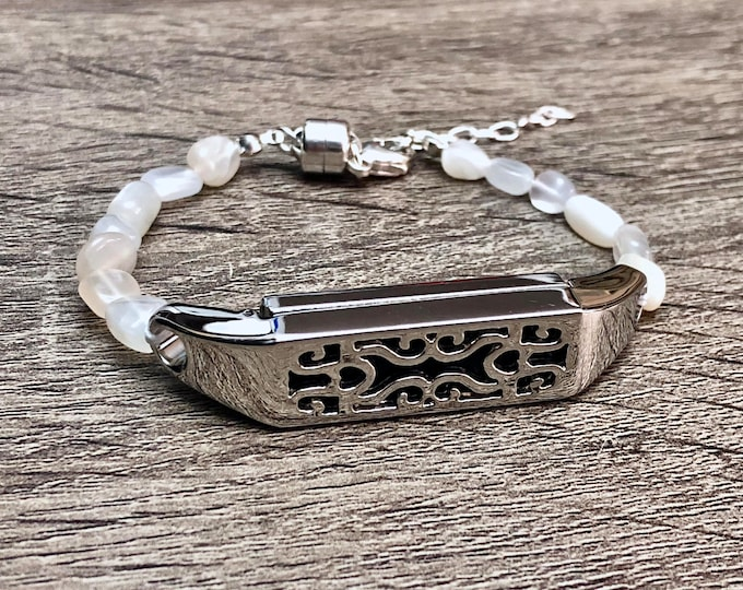 White Moonstone Bracelet for Fitbit Flex 2 Tracker Handmade Fitbit Flex 2 Band Adjustable Sterling Silver Magnet Jewelry  Luxury Fitbit Band