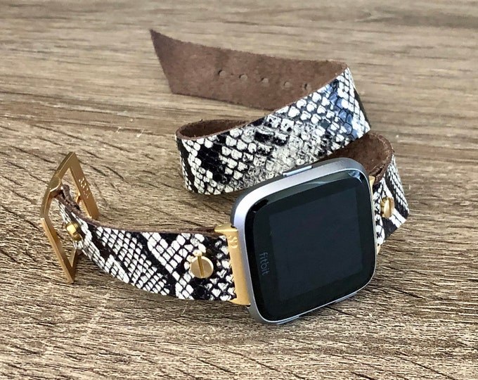 Gold & Snake Skin Print Leather Fitbit Versa 2 Band Fitbit Versa Lite Watch Strap Adjustable Fitbit Versa Band Soft Leather Wristband