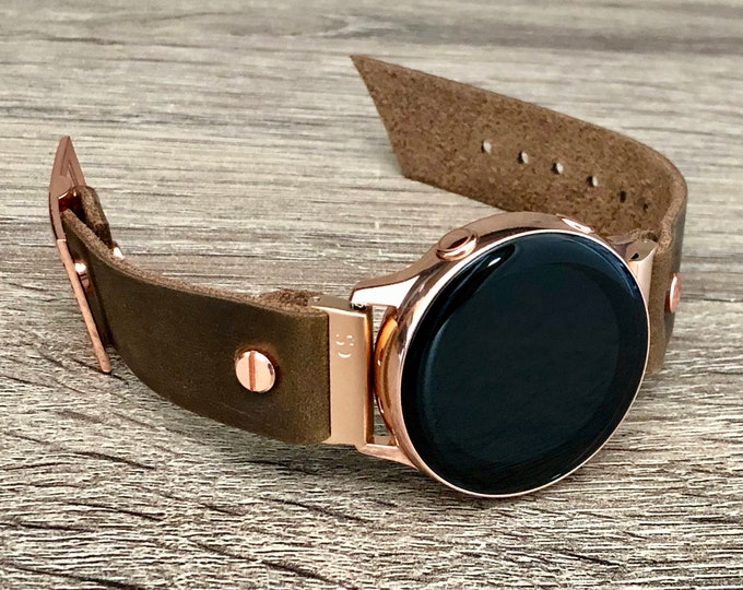 Brown Leather Rose Gold Samsung Galaxy Active Band Pink Gold Galaxy Watch Active 2 Bracelet 40mm 44mm Rustic Leather Watch Band Wristband
