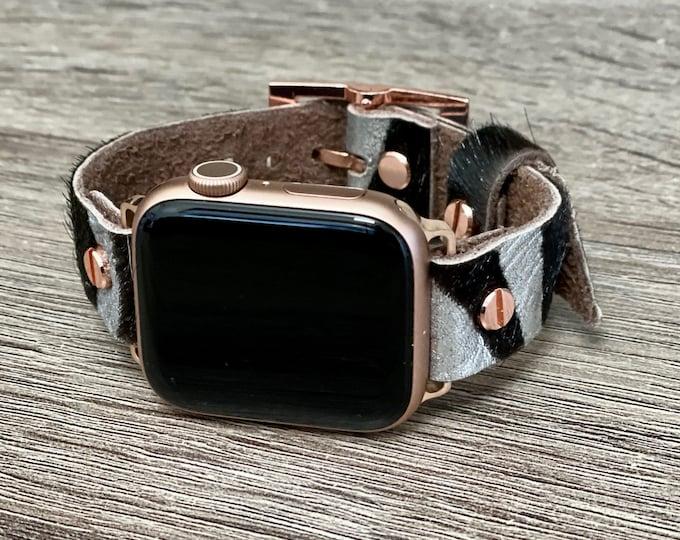 Zebra Print Leather Apple Watch Band 38mm 40mm 42mm 44mm Women Rose Gold iWatch Bracelet Adjustable Wristband Genuine Leather Cuff Strap