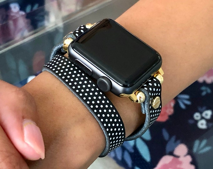 Polka Leather & Gold  Apple Watch 38mm 40mm 42mm 44mm Band Double Wrap iWatch Strap Apple Watch Wristband Adjustable Apple Watch Bracelet