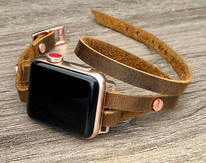 Rose Gold & Brown Leather Apple Watch Band 38mm 40mm 42mm 44mm Apple Watch Strap Women iWatch Band Rustic Brown Leather Apple Watch Bracelet