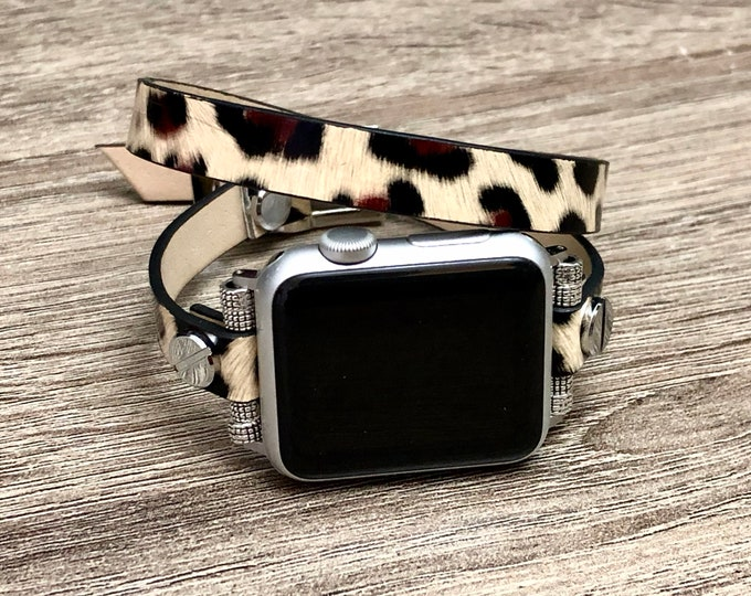 Leopard Print Leather Bracelet for Apple Watch Handmade Vegan Double Wrap Strap Adjustable Apple Watch Band Fashion Leather Jewelry Bracelet