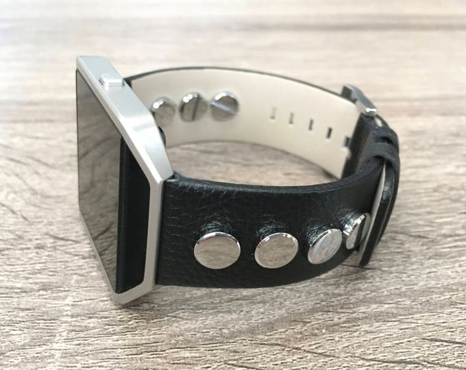 Black Leather Bracelet for Fitbit Blaze Vintage Handmade Designer Fitbit Blaze Band with Silver Frame & Rivets Adjustable Size Jewelry Band