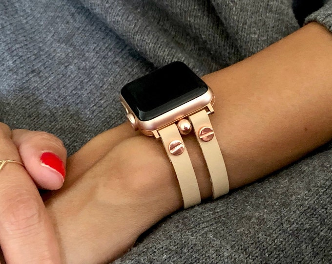 Apple Watch Bracelet  Rose Gold Apple Watch Band  38mm 40mm 42mm 44mm Ultra Fiber Leather iWatch Band Jewelry Cuff Women Wristband