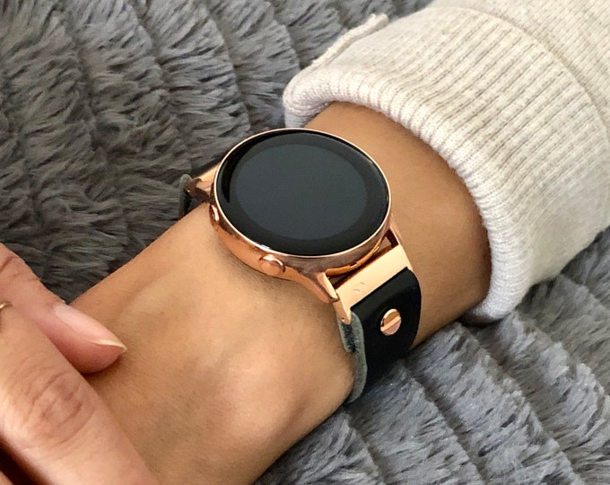 Black Leather Rose Gold Samsung Galaxy Active Band, Rose Gold Galaxy Watch Active2 Bracelet 40mm 44mm, Rose Gold Watch Band Watch Wristband