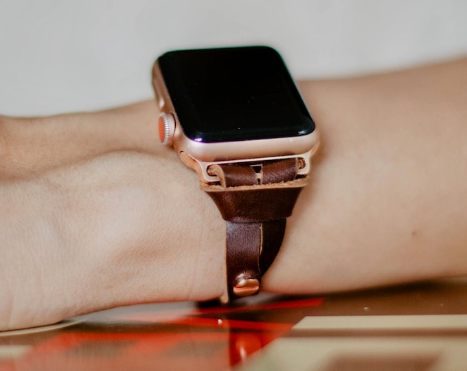 Rose Gold & Brown Apple Watch Band 38mm 40mm 42mm 44mm iWatch Bracelet Adjustable Slim Fit Dainty Leather Wristband Rose Gold Watch Band