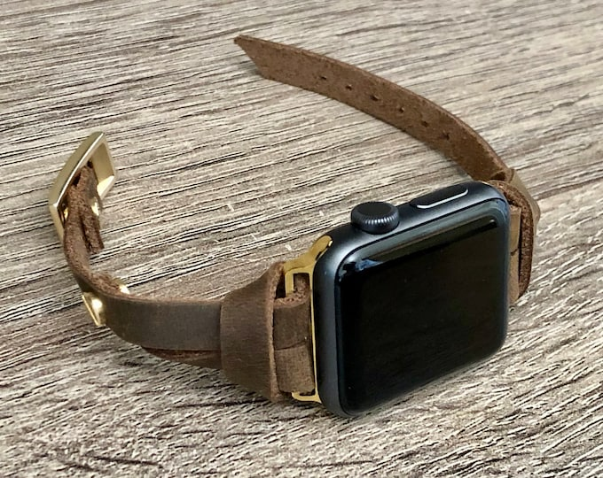 Apple Watch Band Gold & Vintage Leather Bracelet 38mm 40mm 42mm 44mm iWatch Women Bracelet iWatch Strap Apple Watch Slim Leather Wristband