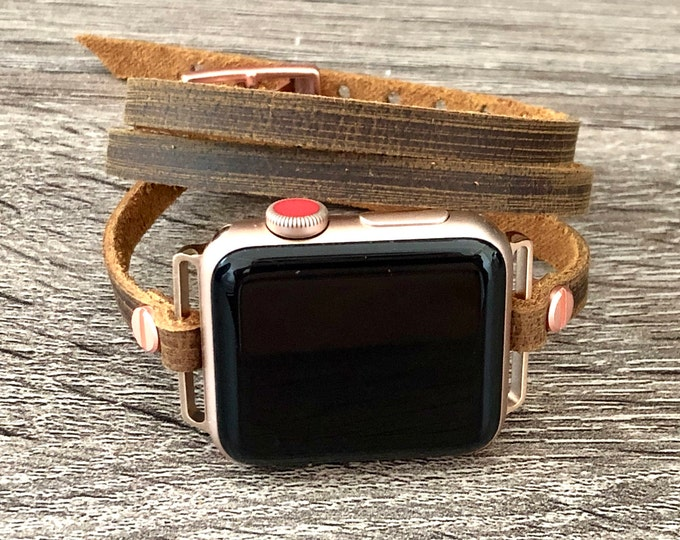 Apple Watch Bracelet, Women Apple Watch Band 38mm 40mm 42mm 44mm, Vintage Rustic Leather Apple Watch Strap, Rose Gold Apple Watch Wristband